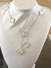 Load image into Gallery viewer, Kate Middleton Solid Mother of Pearl Clover Necklace Y Lariat Style