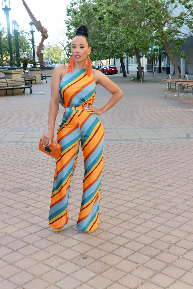 70's Inspired Two Piece Caramel Stripe Set