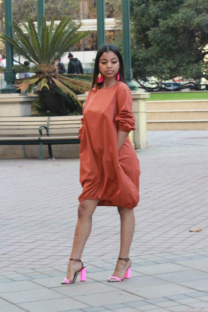 Bubble Me  Shirt Dress - RUST