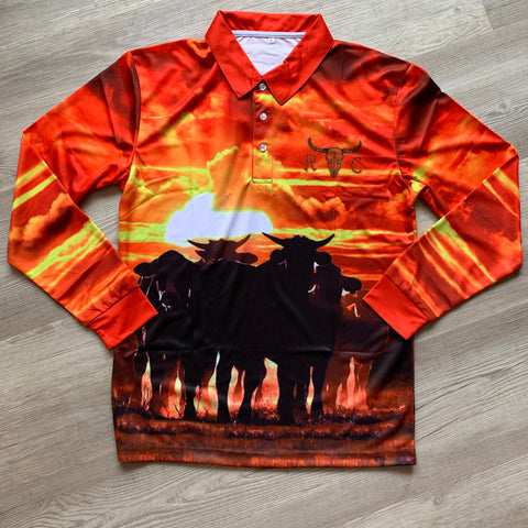 Sunset Cattle Fishing Shirt