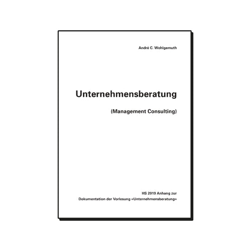 Unternehmensberatung (Management Consulting) Anhang