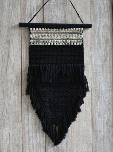 Macrame Jewelled Black Large