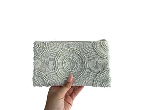 Beaded Clutch White Small