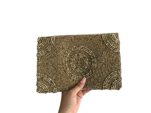 Beaded Clutch Brown Circle Large