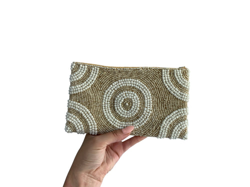 Beaded Clutch Two-Tone Sandy Circle Small