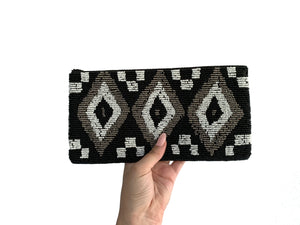 Beaded Clutch Tri-Colour Diamond Medium