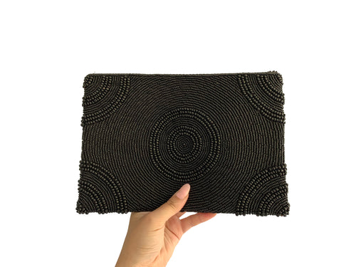 Beaded Clutch Black Circle Large