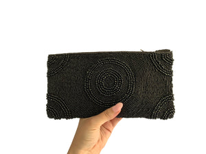 Beaded Clutch Black Circle Medium
