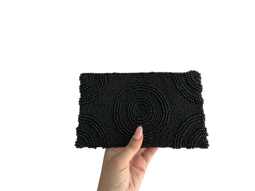Beaded Clutch Black Circle Small