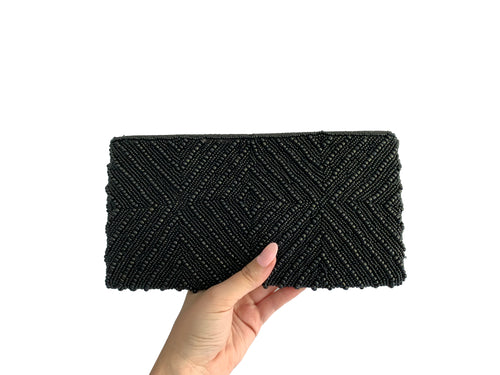 Beaded Clutch Black Diamond Medium