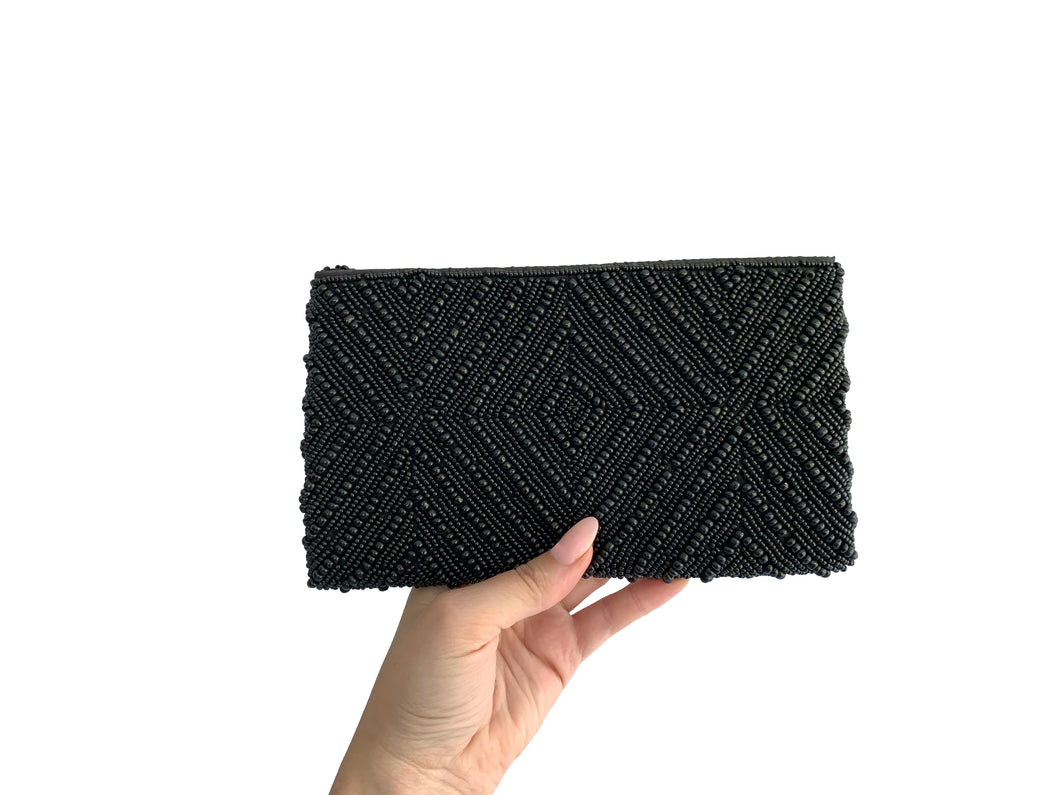 Beaded Clutch Black Diamond Small