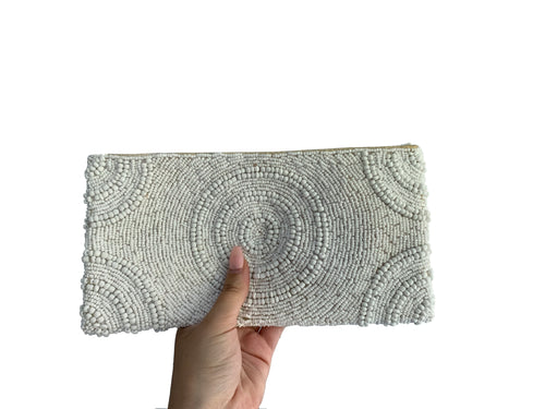 Beaded Clutch White Circle Medium