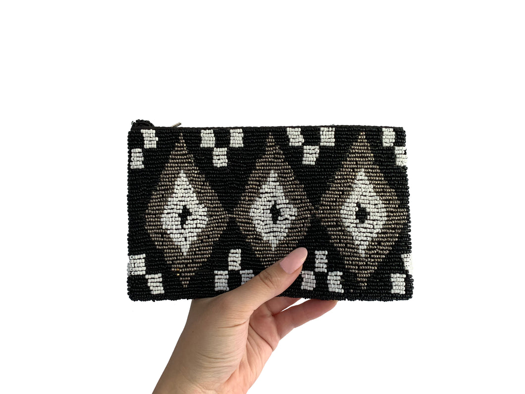Beaded Clutch Tri-Tone Diamond Small