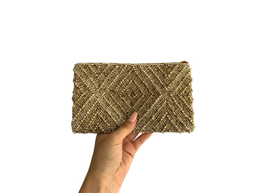 Beaded Clutch Brown Diamond Small