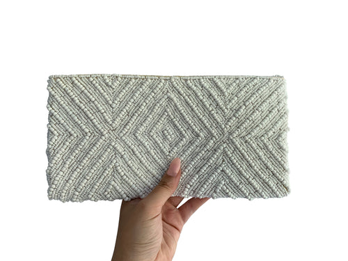 Beaded Clutch White Diamond Medium