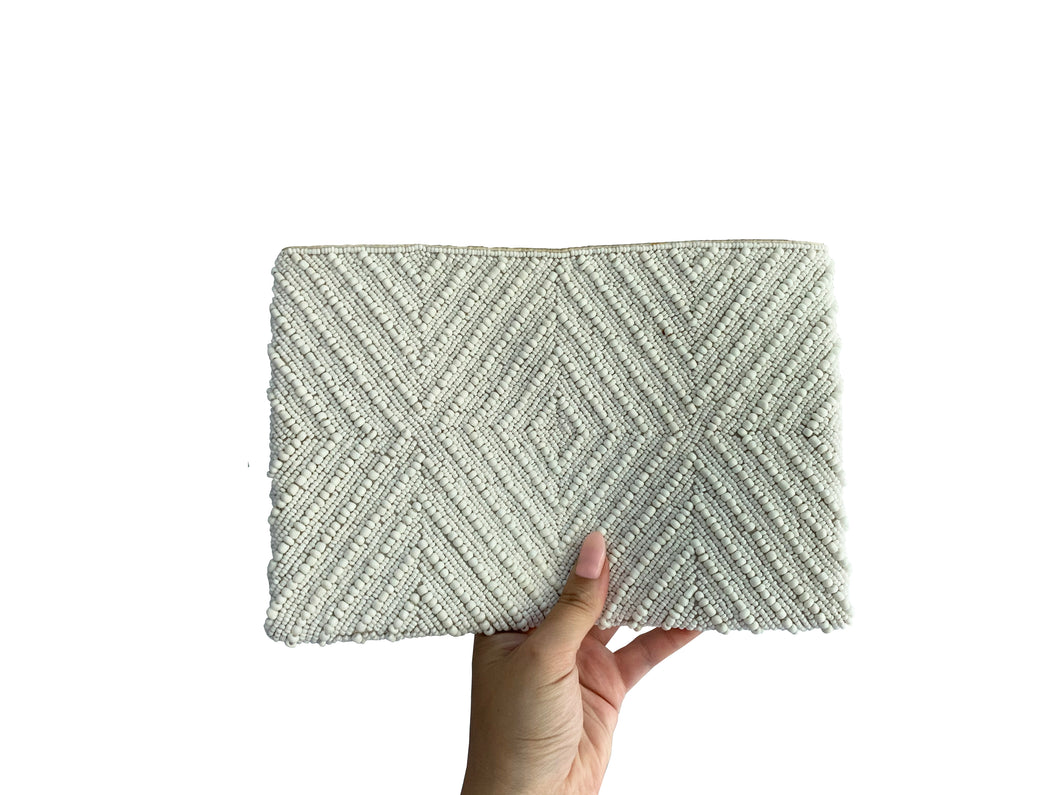 Beaded Clutch White Diamond Large