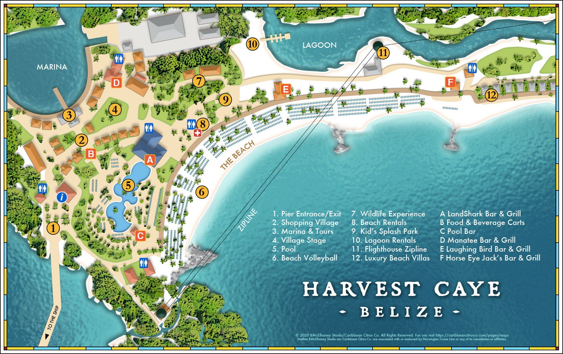 Harvest Caye Belize Map