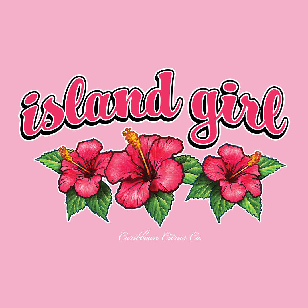Island Girl T Shirt Design with beautiful hibiscus flowers