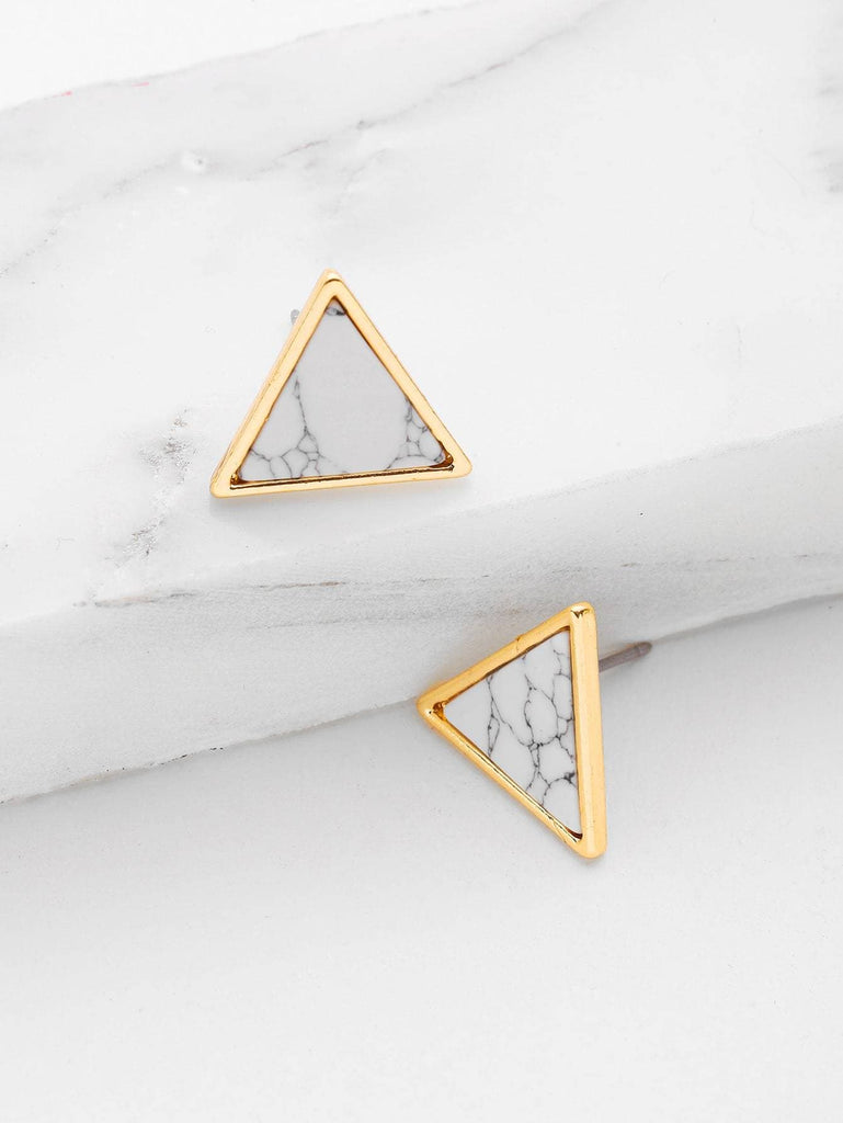 Triangle Stone Earrings - Han and Co. Jewelry
