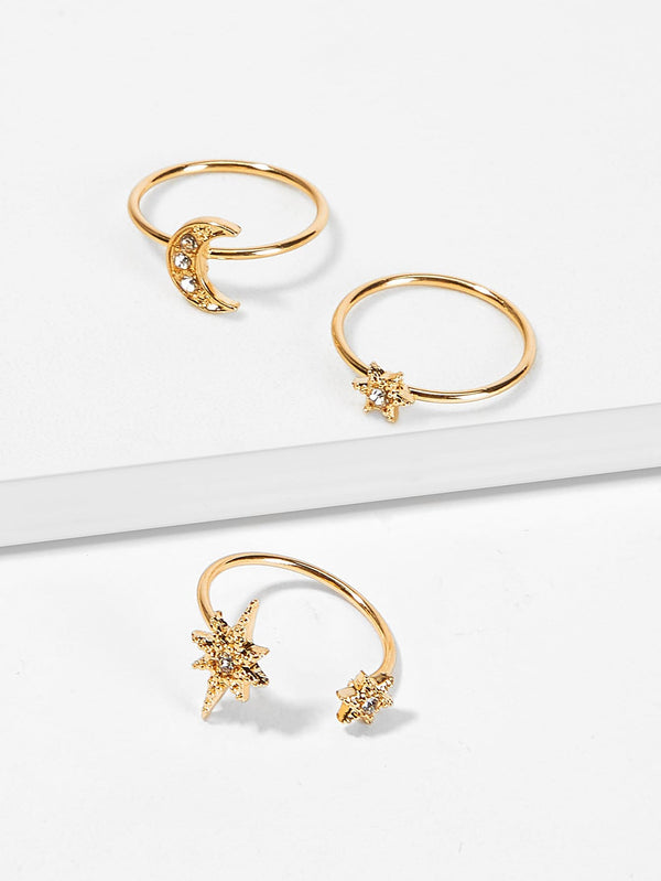 Star & Moon Decor Ring Set 3pcs - Han and Co. Jewelry