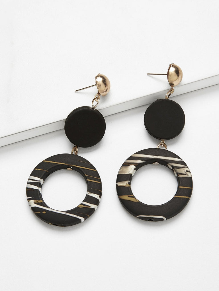Disc & Ring Drop Earrings - Han and Co. Jewelry
