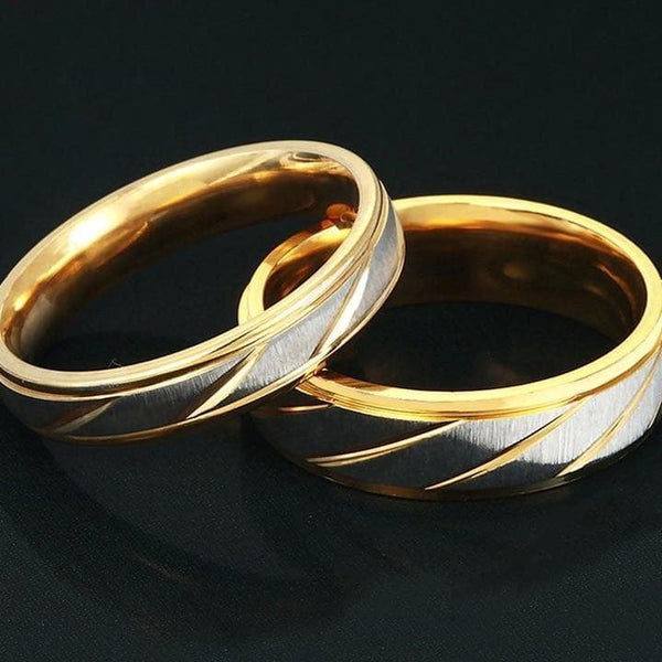 Stainless Steel Wave Couple Ring - Han and Co. Jewelry