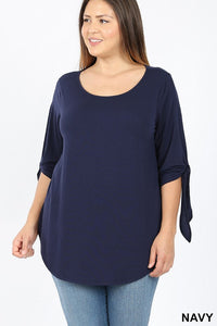 Plus Tie-Sleeve Top