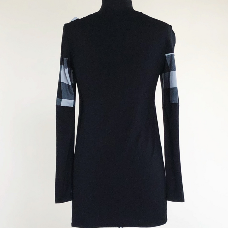 Long Sleeve Plaid Contrast Top Black/White