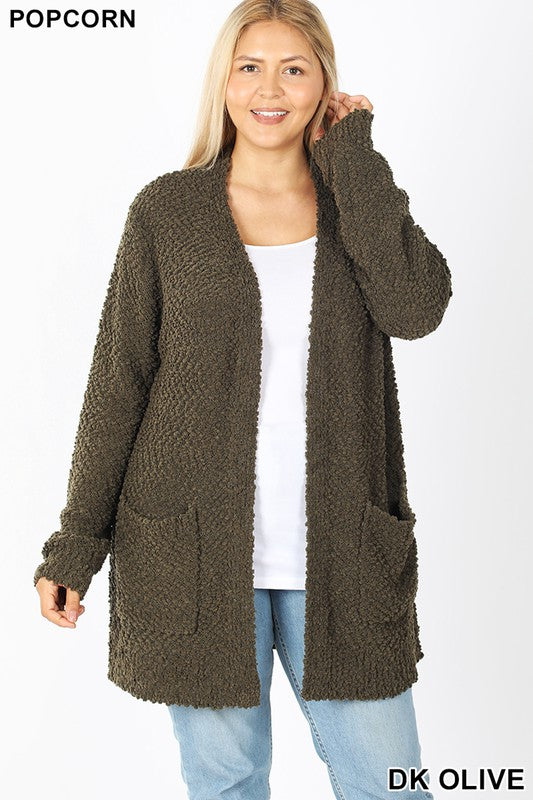 Plus Dark Olive Popcorn Cardigan
