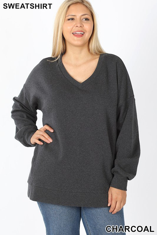 Plus V-Neck Sweatshirt