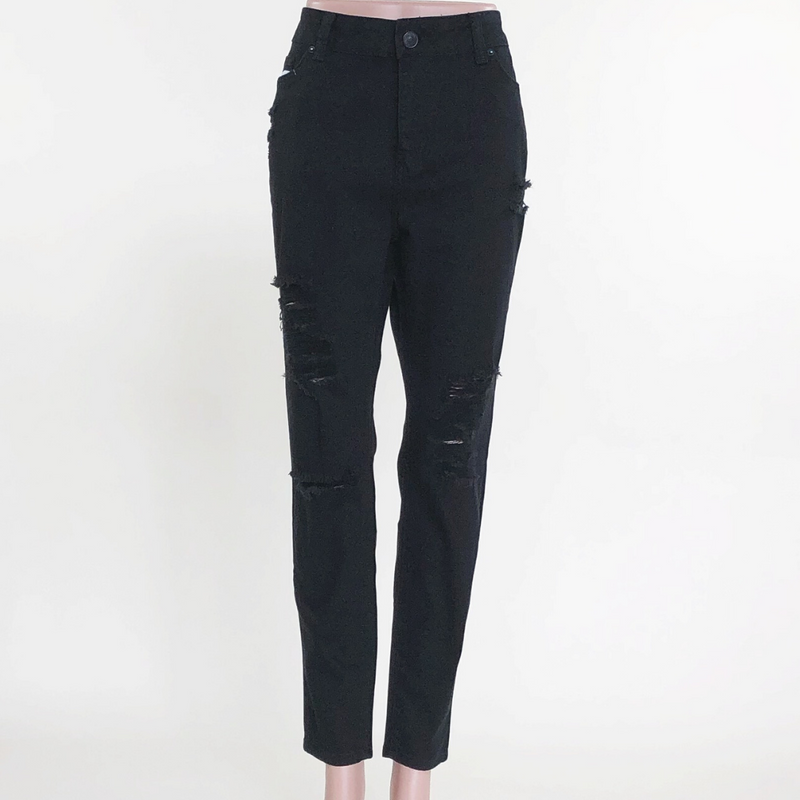 Black Plus Size Distressed Skinny Jeans