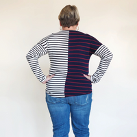 Navy & Ivory Stripe Knot Hem Top