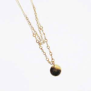 Layered Bead Metal Round Disc Necklace