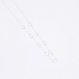 Round Disc Station Metal Long Necklace