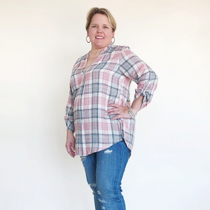 Plaid Design Blouse