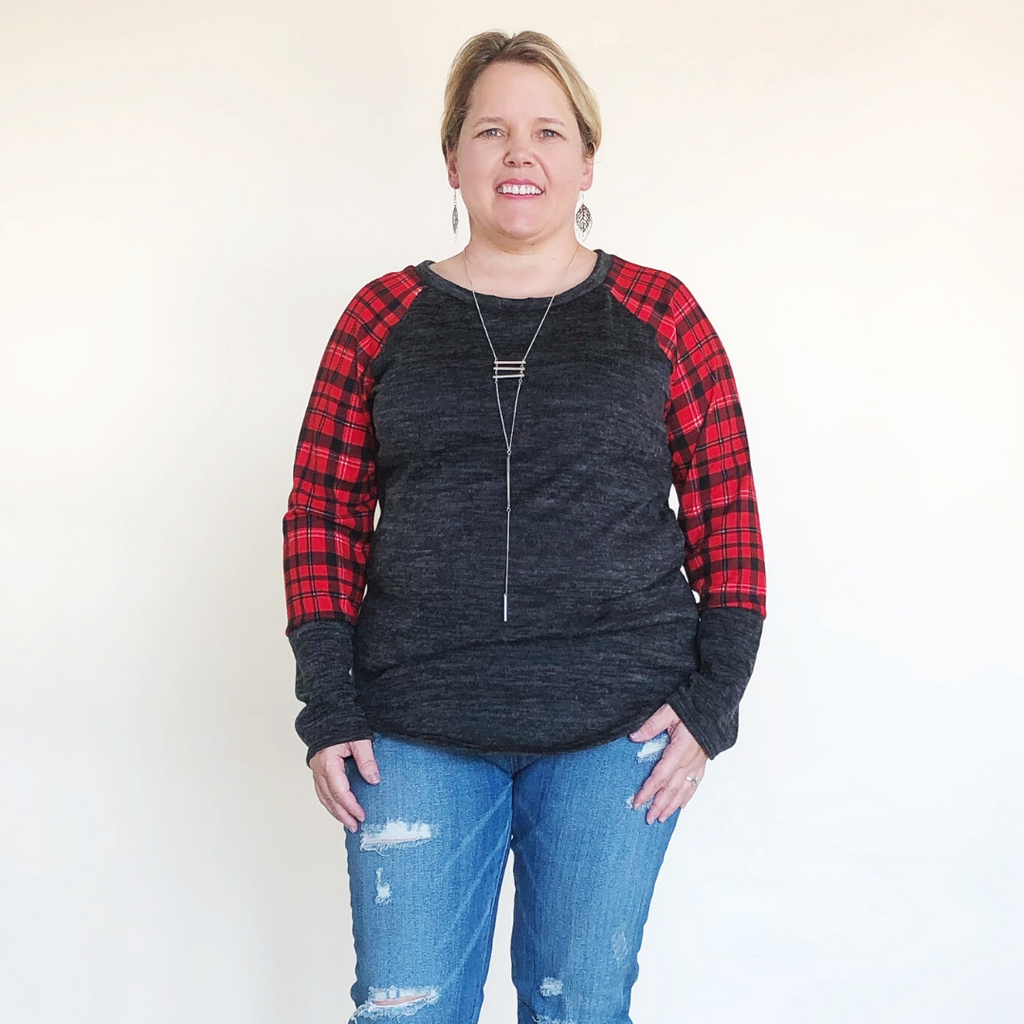 PLUS LONG SLEEVE PLAID AND SOLID TOP - Charcoal