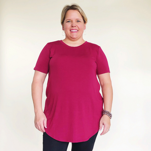 Solid Short Sleeve Wine Relaxed Fit Top