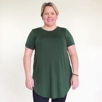 Solid Short Sleeve Olive Relaxed Fit Top