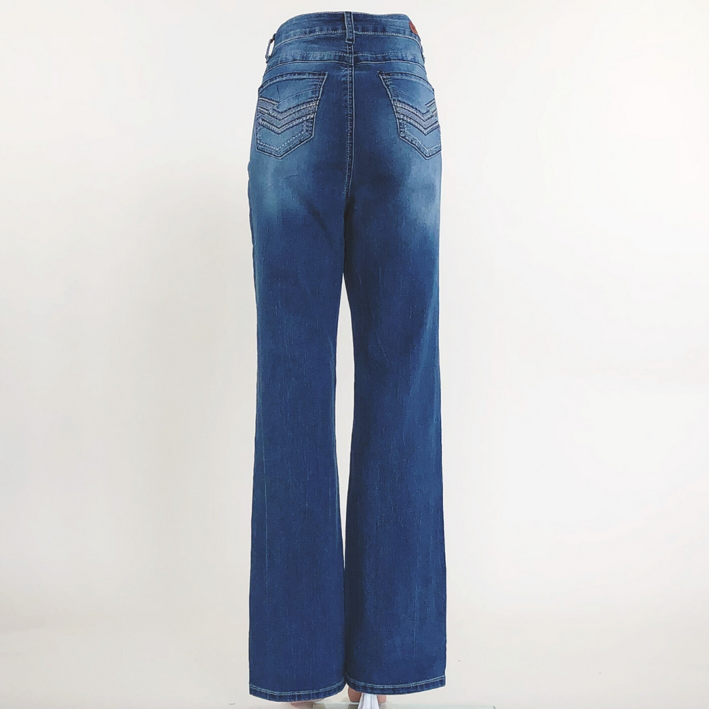 Plus size stretch denim boot cut jeans