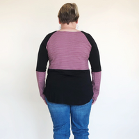 Plus Size Mauve & Black Stripe Top