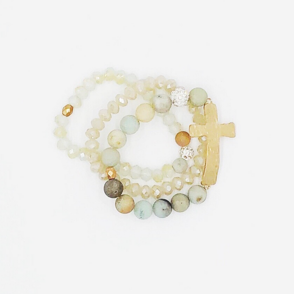 Cross Stone Beaded Bracelet