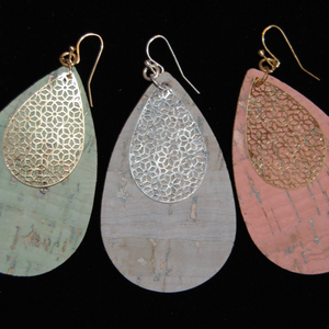 Cork Filigree Teardrop Earrings
