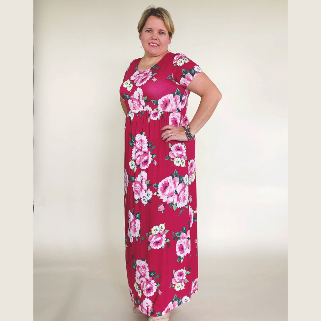 Plus Flower Knit Maxi Dress