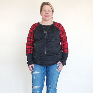 LONG SLEEVE PLAID AND SOLID TOP - Charcoal