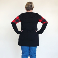 PLUS LONG SLEEVE PLAID CONTRAST TOP Black/Red