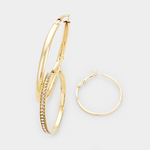 Crystal Pave Metal Hoop Earrings