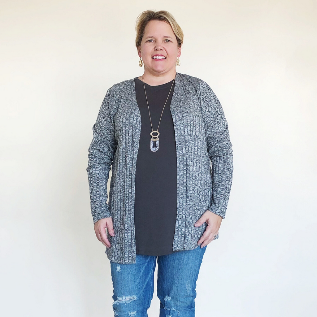 Plus Size Black White Cardigan