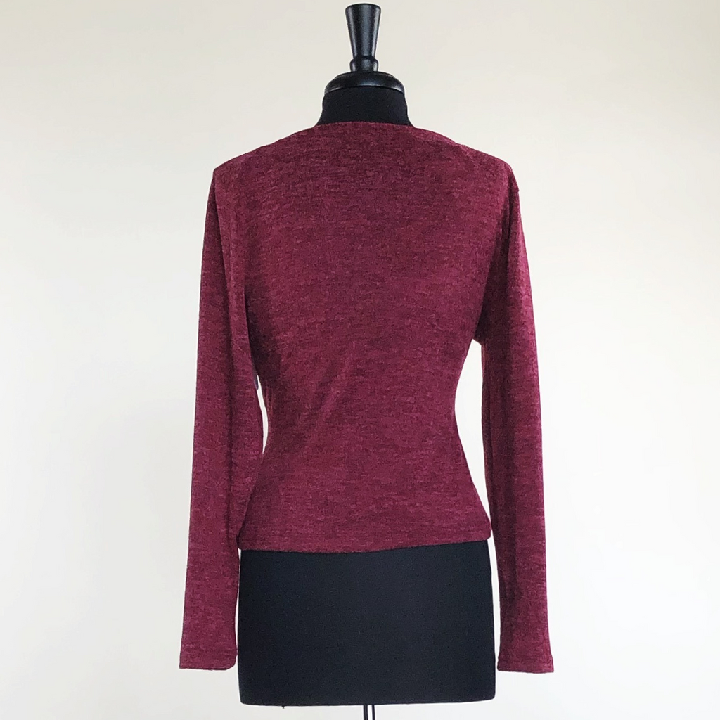 Burgundy Long Sleeve V-Neck