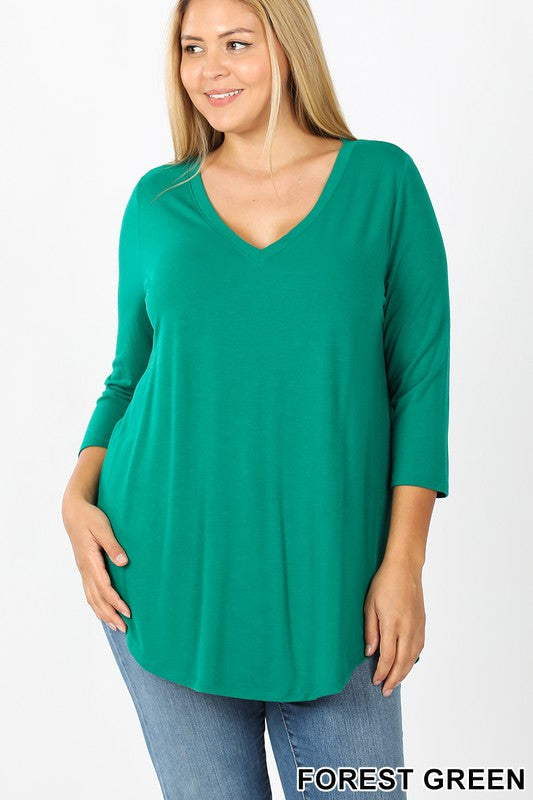 Plus V-Neck Casual Top