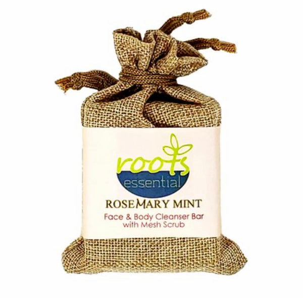 Roots Essential Rosemary Mint Cleanser Bar + Mesh Scrub
